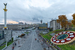 Kiev, Ucrania - 24 de octubre de 2015: Vista panorámica del cuadrado de la independencia de la tarde Fotos de archivo