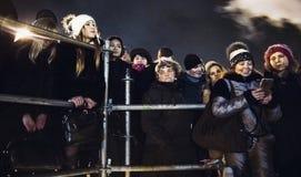 Kiev, Ucrania - enero 1, 2017: Ploscha de Sofievska: gente que celebra Año Nuevo Fotografía de archivo