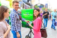 Kiev, Ucrania - pueden 6, 2017 Preparaciones para la Eurovisión 2017 en Khreshchatyk Libertad, música kiev ucrania Fotos de archivo
