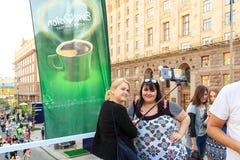 Kiev, Ucrania - pueden 6, 2017 Preparaciones para la Eurovisión 2017 en Khreshchatyk Libertad, música kiev ucrania Foto de archivo libre de regalías