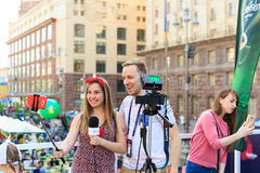 Kiev, Ucrania - pueden 6, 2017 Preparaciones para la Eurovisión 2017 en Khreshchatyk Libertad, música kiev ucrania Imágenes de archivo libres de regalías