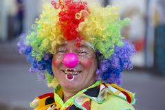 Ethno-fest : traditions - emotions - life. Portrait of an multi-colored clown on the street of Kiev, Ukraine Royalty Free Stock Photo