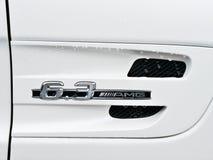 Kiev Ukraina; April 10, 2018 Emblem av Mercedes 6 3 AMG arkivfoton