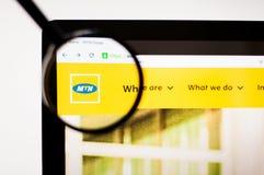 Kiev Ukraina - april 5, 2019: MTN-websitehomepage Synlig MTN-logo fotografering för bildbyråer