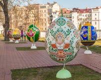 KIEV UKRAINA - APRIL11: Pysanka - ukrainskt påskägg Exhien Arkivbilder