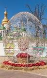 KIEV UKRAINA - APRIL11: Pysanka - ukrainskt påskägg Exhien Royaltyfri Bild