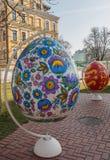 KIEV UKRAINA - APRIL11: Pysanka - ukrainskt påskägg Exhien Arkivfoton