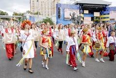 KIEV UKRAINA - 24 AUGUSTI 2013 - Indipendence dag Arkivfoton