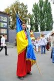 KIEV UKRAINA - AUGUSTI 24: Mega marsch av broderier i den ukrainska huvudKyiven fridsam tid Arkivbild
