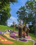 KIEV Ukraina-blomma showlandskap parkerar i Kiev Compositioen Arkivfoto