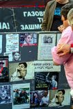 2011 09 09 Kiev, Ukraina Folk i staden Protester i Kieven Nationell oro i Kyiv Klokt liv av Ukraina royaltyfri bild