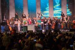 Kiev Ukraina - Januari 01, 2018: Konsert som utförs av orkesteren för medborgare Fotografering för Bildbyråer