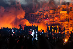KIEV UKRAINA - Januari 24, 2014: Massanti--regering protester Arkivfoto