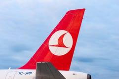 KIEV UKRAINA - JULI 10, 2015: Turkish Airlines Arkivfoto