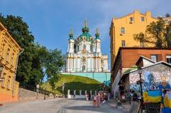 Kiev Ukraina - Juni 15, 2012: Kyrka för St Andrew ` s på Andrew Descent i Kiev Royaltyfri Bild