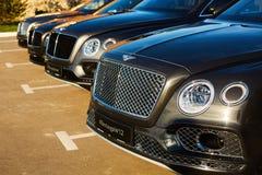 Kiev Ukraina - 14 Maj 2014: Bentley Motorsport firar öppningen av en ny återförsäljaremitt i Kiev Royaltyfri Bild
