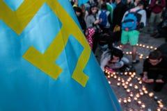 KIEV UKRAINA - 17 Maj, 2015: Crimean Tatars markerar den 71. årsdagen av den tvungna utvisningen av Crimean Tatars från Krim Royaltyfri Fotografi