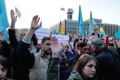 KIEV UKRAINA - 18 Maj, 2015: Crimean Tatars markerar den 71. årsdagen av den tvungna utvisningen av Crimean Tatars från Krim Royaltyfria Foton
