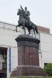 Kiev Ukraina - Maj 29, 2016: Monumentet till den sovjetiska militära ledaren Shchors med en inskrift målade på en sockel`-bödel a royaltyfria foton