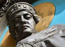KIEV - UKRAINA - MARS 2017: Del av skulpturen av prinsessan Olga Royaltyfri Bild