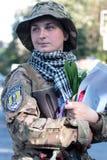 KIEV UKRAINA - May 19 2015: Militära militärer och kvinnor från 'den Sich' batallionen Arkivfoto
