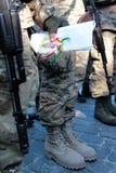 KIEV UKRAINA - May 19 2015: Militära militärer och kvinnor från 'den Sich' batallionen Royaltyfria Foton