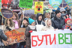 KIEV UKRAINA - November 29, 2015: Ukrainare tar en del i den ukrainska globala klimatmars Royaltyfria Foton