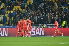 Kiev UKRAINA - OKTOBER 19, 2016: Celebrat för SL Benfica för fotbollspelare Arkivbilder