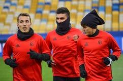 Kiev UKRAINA - OKTOBER 19, 2016: Fotbollcoachning för SL Benfica för Arkivfoto