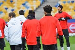 Kiev UKRAINA - OKTOBER 19, 2016: Fotbollcoachning för SL Benfica för Royaltyfri Bild