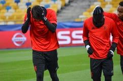 Kiev UKRAINA - OKTOBER 19, 2016: Fotbollcoachning för SL Benfica för Royaltyfri Foto