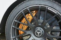 Kiev Ukraina - OKTOBER 4, 2016: Mercedes Benz stjärnaerfarenhet Den intressanta serien av provdrev Fotografering för Bildbyråer