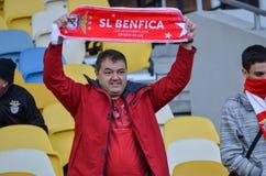 Kiev UKRAINA - OKTOBER 19, 2016: Portugisisk fanservice SL Benfica Royaltyfri Foto