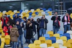 Kiev UKRAINA - OKTOBER 19, 2016: Portugisisk fanservice SL Benfica Royaltyfri Fotografi