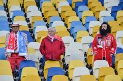 Kiev UKRAINA - OKTOBER 19, 2016: Portugisisk fanservice SL Benfica Arkivfoton