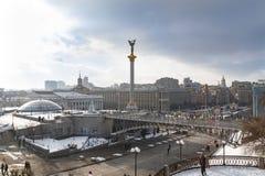 Kiev Ukraina, självständighetfyrkant, Februari 17, 2018 arkivfoto
