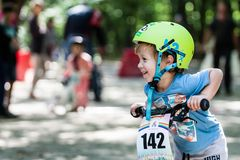 Young bikers at bicycle competition Stock Photos