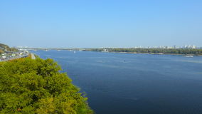 Kiev, Ukraine. Aerial view over Dnieper river. in Kyiv stock video footage