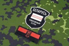 KIEV, UKRAINE - août 2015 Volontaires biélorusses dans l'armée de l'Ukraine Guerre de la Russe-Ukraine 2014 - 2015 Badg uniforme  Photo libre de droits