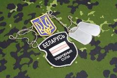 KIEV, UKRAINE - août 2015 Volontaires biélorusses dans l'armée de l'Ukraine Guerre de la Russe-Ukraine 2014 - 2015 Insigne unifor Images stock