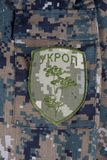 KIEV, UKRAINE - Apr. 26, 2015. Ukraine Army unofficial uniform badge Stock Photography