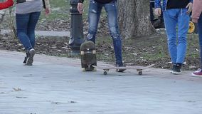 Kiev, Ukraine - APR 8, 2018: young man performing a trick with his skateboard in skate park. Sport, active life concept.  stock video