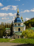 Kiev,Ukraine - April 15, 2017 - The bell tower of the ancient Vydubitsky monastery. View of the bell tower of the ancient Vydubitsky monastery, in the Royalty Free Stock Photography