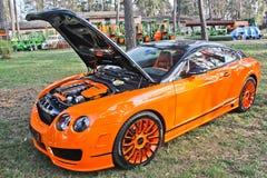 Kiev, Ukraine; April 20, 2015. Bentley Continental GT Mansory. Bentley car with an open hood. Bentley engine royalty free stock photography