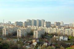 Kiev, Ukraine - April 08, 2016: bird view over city. Bird view over city of kiev, Ukraine. view to city from the roof Stock Image