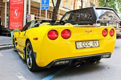 Kiev, Ukraine; April 3, 2014; Chevrolet Corvette Convertible in the city. royalty free stock photography