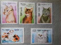 KIEV, UKRAINE - APRIL 16, 2019: Collection of postage stamps with animals stock images