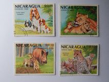 KIEV, UKRAINE - APRIL 16, 2019: Collection of postage stamps with animals stock photos