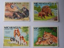 KIEV, UKRAINE - APRIL 16, 2019: Collection of postage stamps with animals royalty free stock images