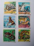 KIEV, UKRAINE - APRIL 16, 2019: Collection of postage stamps with animals royalty free stock photography